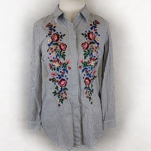 Joan Rivers Button Front Top Embroidered Small